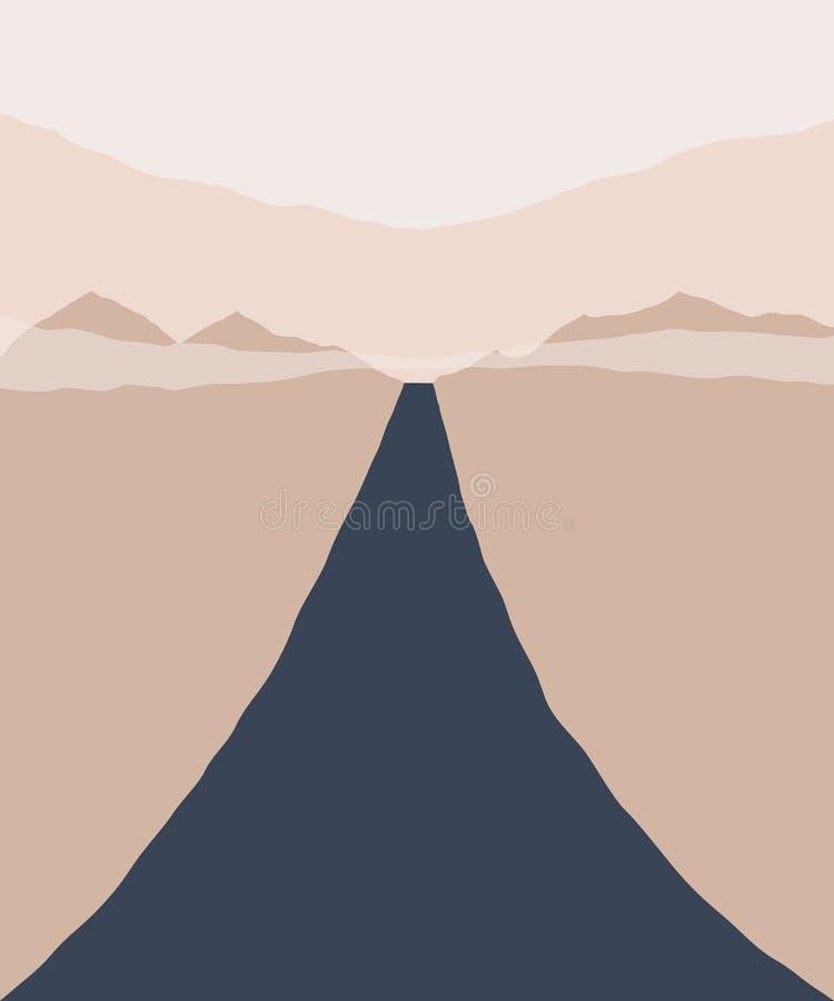 Abstracte landschapsachtergrond Silhouet van bergen, hemel en weg geometrische samenstelling Affiche van landschap in beige royalty-vrije illustratie