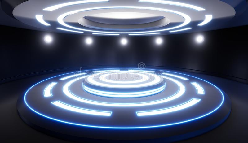 Abstracte lege studio met voetstuk en blauwe verlichting Futuristi stock illustratie