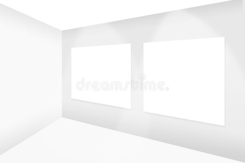 Abstracte lege witte ruimte die leeg wit kader twee hangen vector illustratie