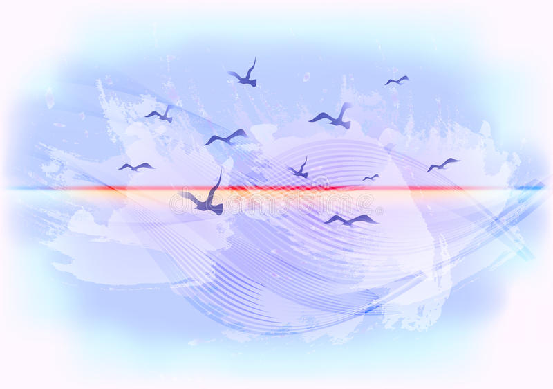 Abstracte lichtblauwe hemelachtergrond met vogels die in de wolken vliegen EPS10 vectorillustratie stock illustratie