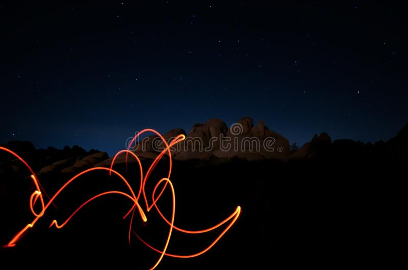 Abstracte lichte spelen in Joshua Tree Park royalty-vrije stock foto's