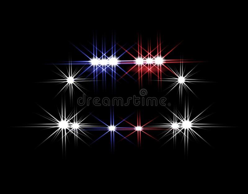 Abstracte Lichteffecten Politiewagen bij nacht met lichten vooraan Illustratie vector illustratie