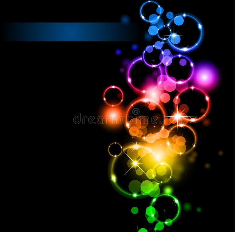 Abstracte Lichten en Fonkelingen met de Kleuren van de Regenboog vector illustratie