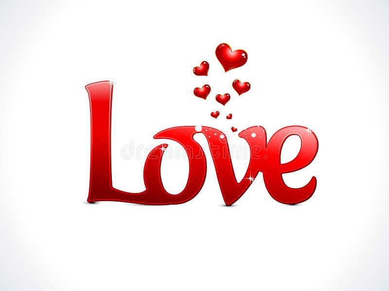 Abstracte liefdetekst stock illustratie