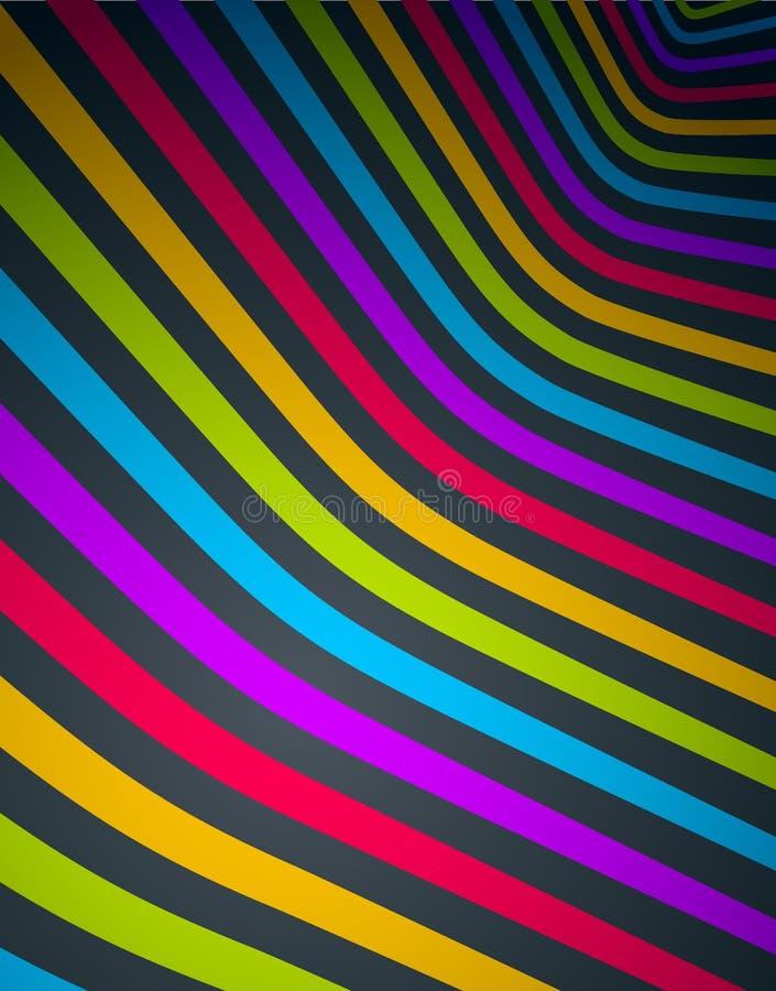 Abstracte lijnen op 3D dimensionale perspectief abstracte vectorachtergrond, koele funky ontwerplay-out royalty-vrije illustratie