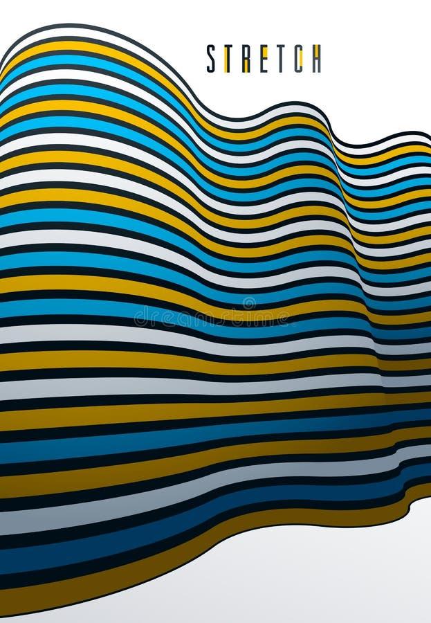 Abstracte lijnen op 3D dimensionale abstracte vectorachtergrond, koele funky ontwerplay-out, jaren '70 retro malplaatje vector illustratie