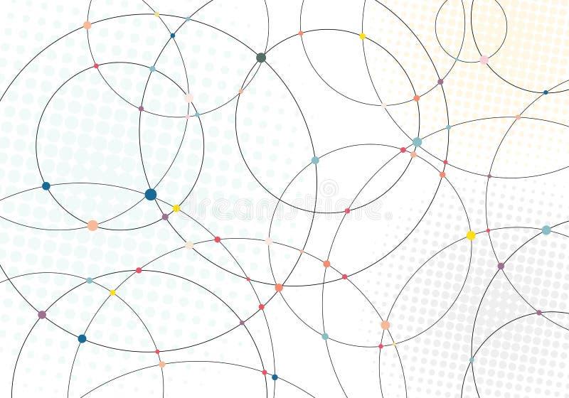 Abstracte lijnencirkels en veelkleurige punten met radiale halftone textuur op witte achtergrond stock illustratie