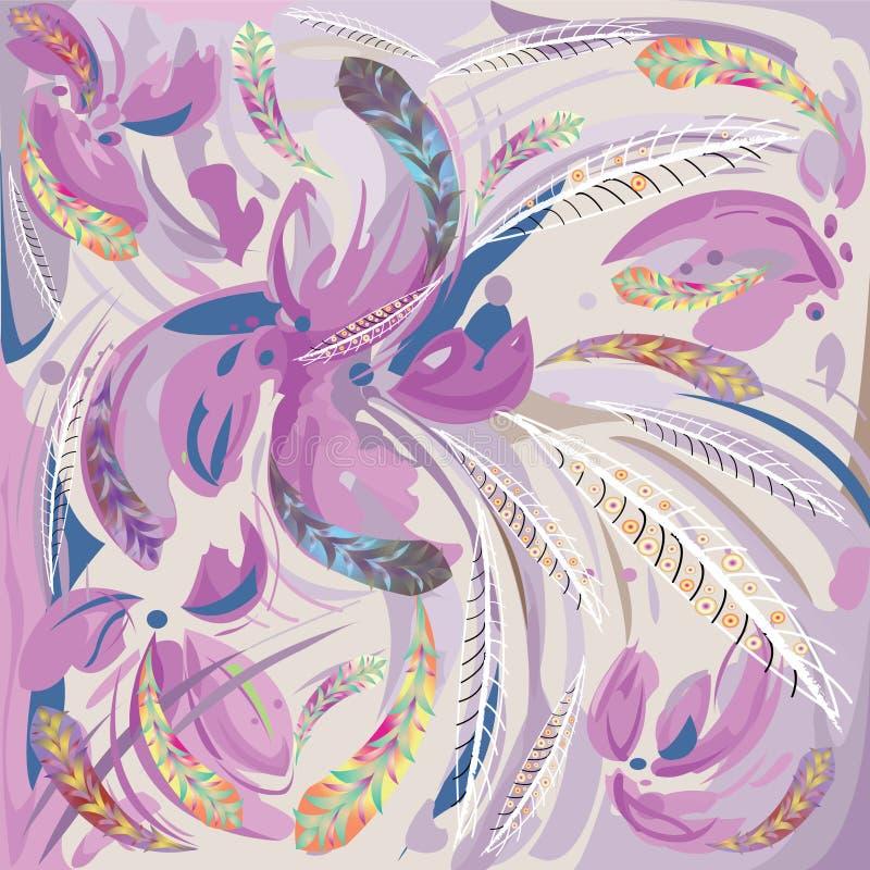 Abstracte lilac bloemen en veren stock illustratie
