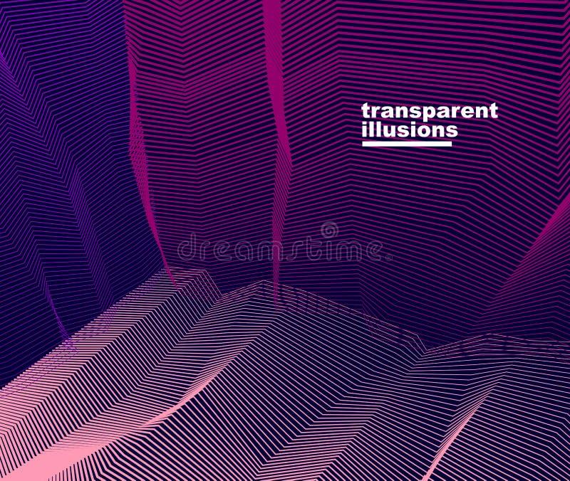 Abstracte lineaire geweven vectorkunstachtergrond voor ontwerp, psycho hypnotic futuristische 3d ruimte binnen de doos of ruimte  royalty-vrije illustratie