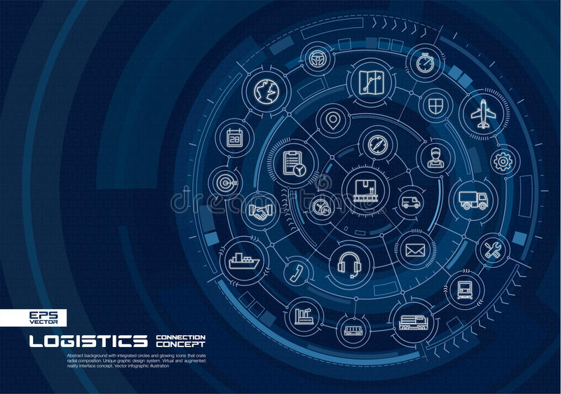 Abstracte logistische en distributieachtergrond Digitaal sluit systeem aan geïntegreerde cirkels, gloeiende dunne lijnpictogramme stock illustratie