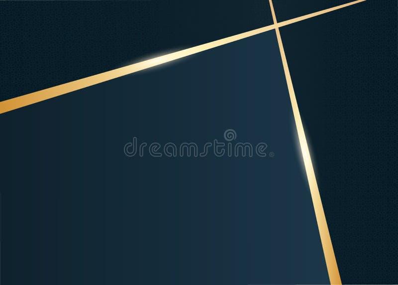 Abstracte luxe gouden en donkerblauwe achtergrond royalty-vrije illustratie