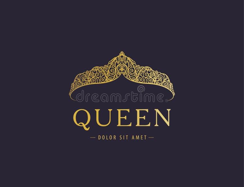 Abstracte luxe, koninklijk gouden het pictogram vectorontwerp van het bedrijfembleem vector illustratie