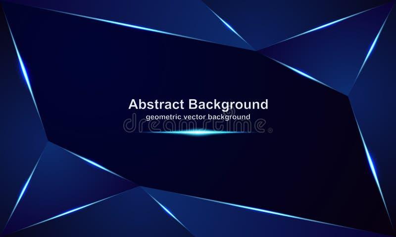 Abstracte, luxueuze, moderne, veelhoekige, metaal vectorachtergronden met een mengsel van blauwe en donkere kleuren vector illustratie