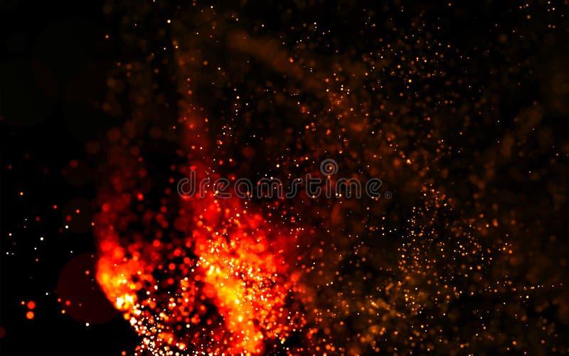 Abstracte magische brandende deeltjes als achtergrond royalty-vrije stock fotografie
