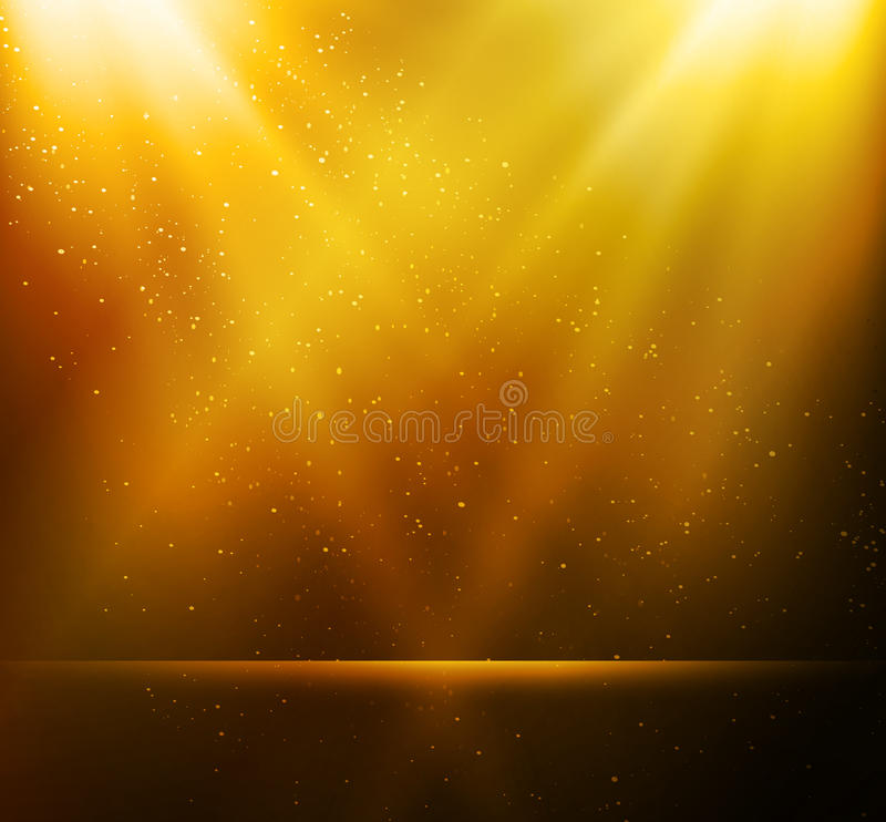 Abstracte magische gouden lichte achtergrond stock illustratie