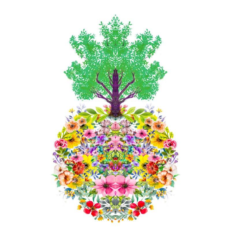 Abstracte magische kleurrijke achtergrond met bloemen royalty-vrije stock afbeeldingen