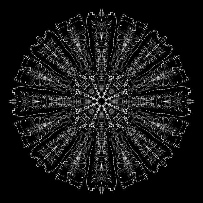 Abstracte mandala Digitaal ontwerp met funky lijnen stock fotografie