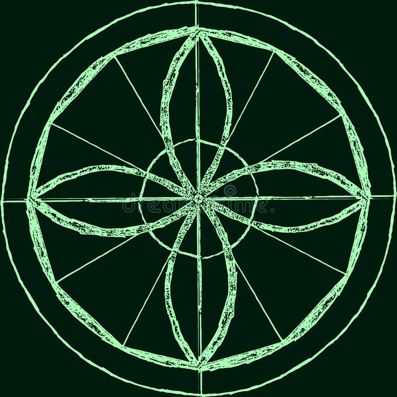 Abstracte mandala in een hand-drawn stijl Groene geometrische mandala vector illustratie
