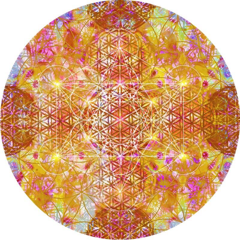 Abstracte mandala met bloem van het leven stock illustratie