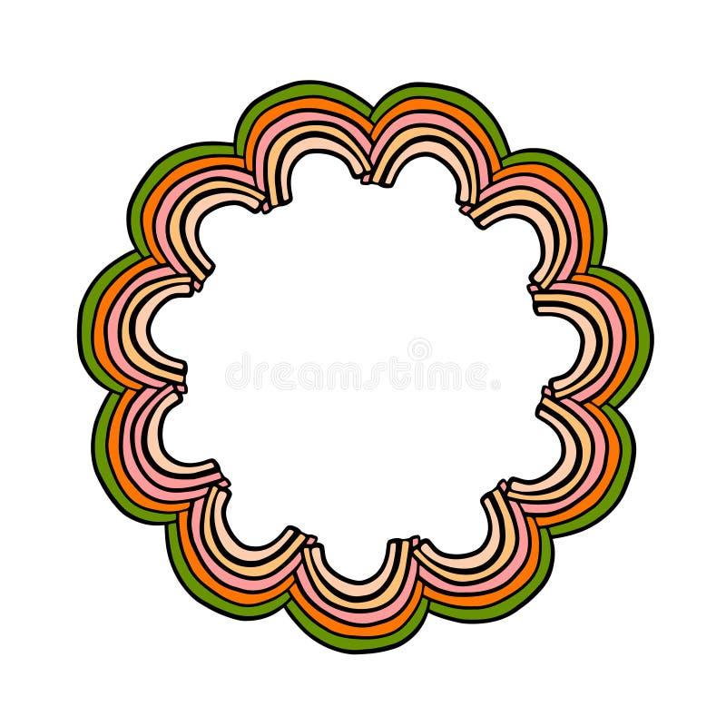 Abstracte mandala met de getrokken kroon van pastelkleur spripes elementen hand stock illustratie