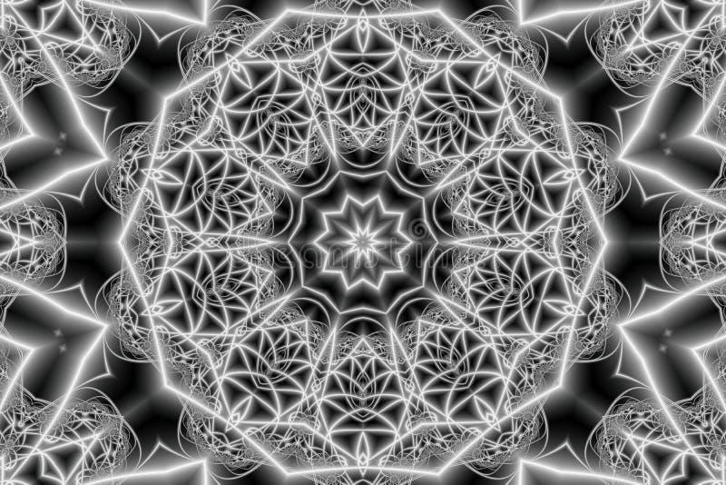 Abstracte mandala met een cirkelornament in de vorm van het doorweven van stralen in de vorm van sterren en geometrische vormen i vector illustratie