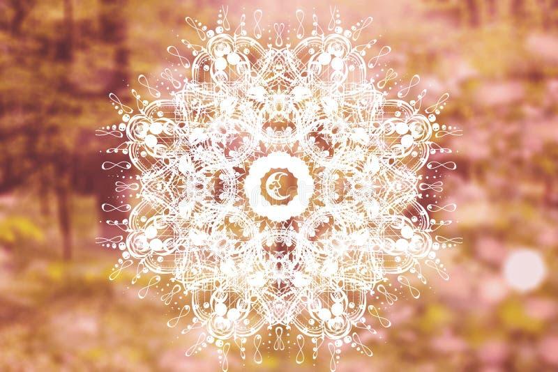 Abstracte mandala met heilige meetkunde stock foto's