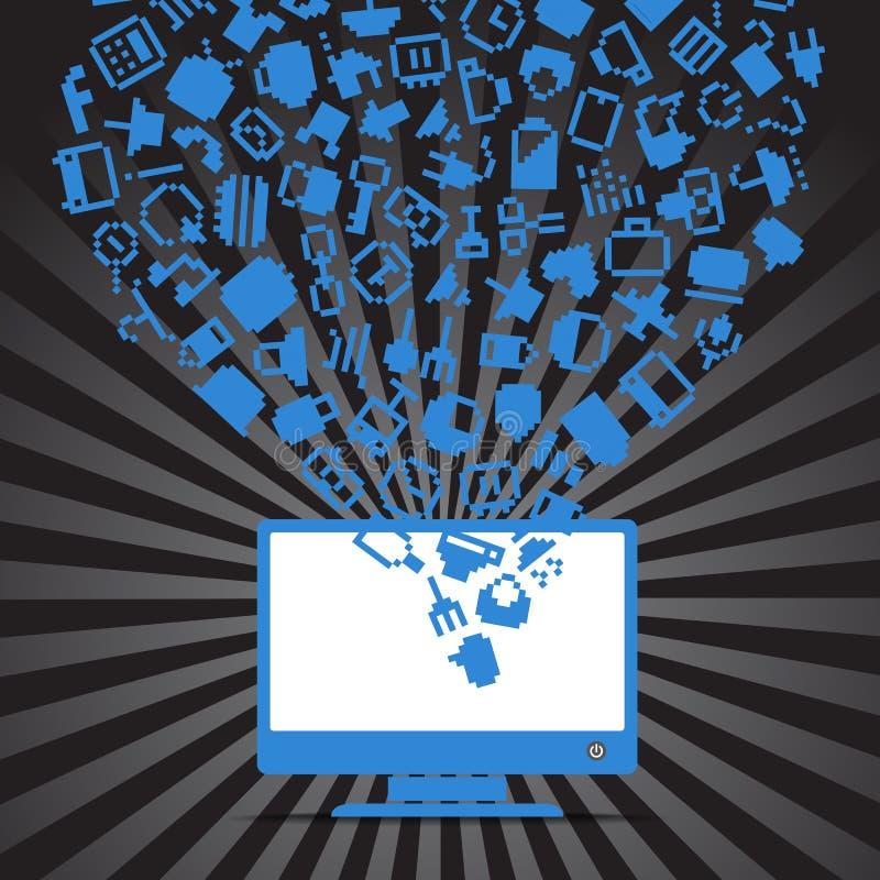 Abstracte media pictogrammen stock illustratie
