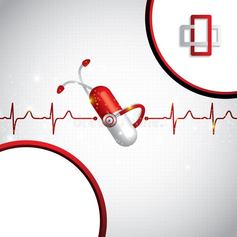 Abstracte medische cardiologie ekg achtergrond stock illustratie