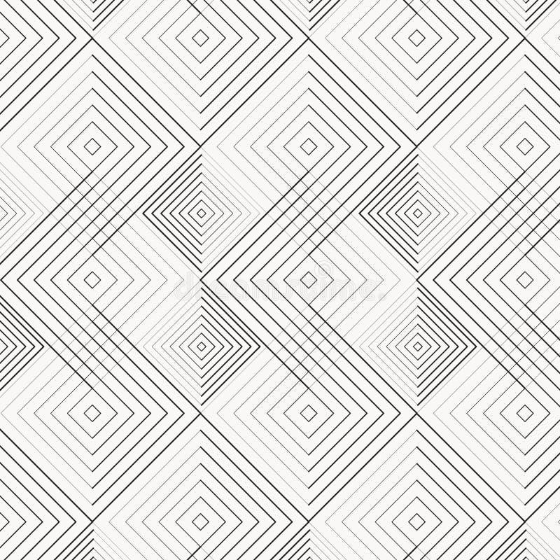 Abstracte meetkunde in diamant en vierkantenvorm in verschillende grootte van lijn Naadloze vectorachtergrond grafische schoon vo royalty-vrije illustratie