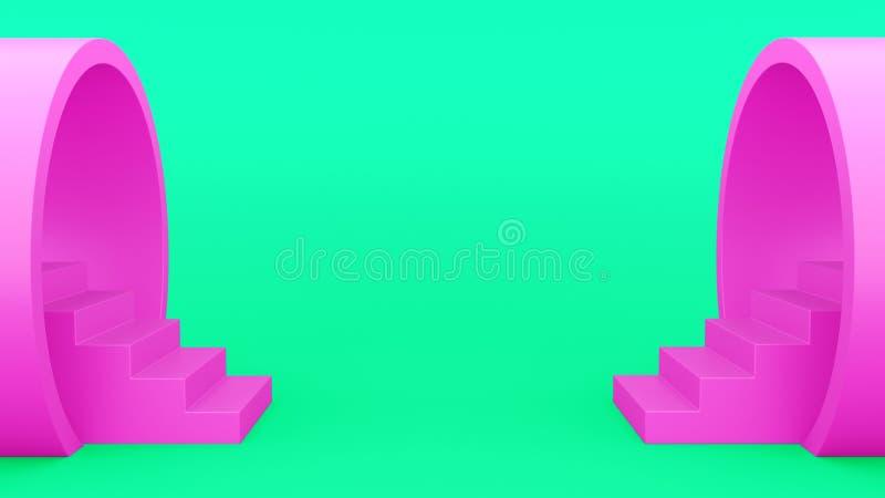 Abstracte meetkunde Trap van het pijproze minimalistic groene achtergrond 3D Illustratie royalty-vrije illustratie
