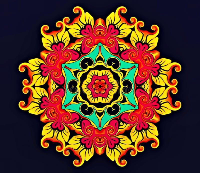 Abstracte meetkunde van modern art. Mystieke oostelijke mandala bloemencaleidoscoop traditioneel ontwerp Psychedelische symmetris stock illustratie