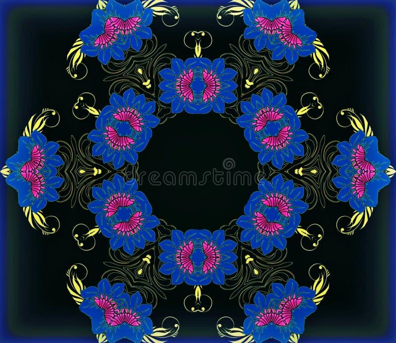 Abstracte meetkunde van modern art. Mystieke oostelijke mandala bloemencaleidoscoop traditioneel ontwerp Psychedelische symmetris royalty-vrije illustratie