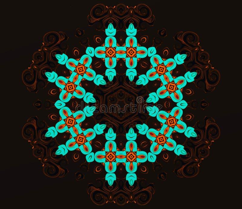 Abstracte meetkunde van modern art. Mystieke oostelijke mandala bloemencaleidoscoop traditioneel ontwerp Psychedelische symmetris vector illustratie