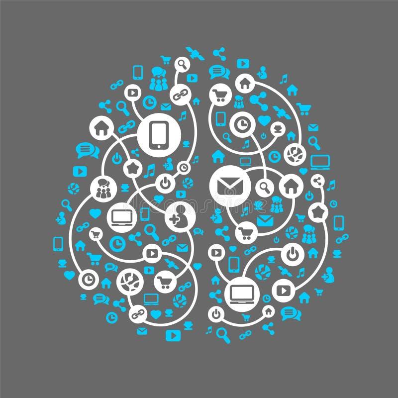 Abstracte menselijke hersenen en sociale media vector illustratie