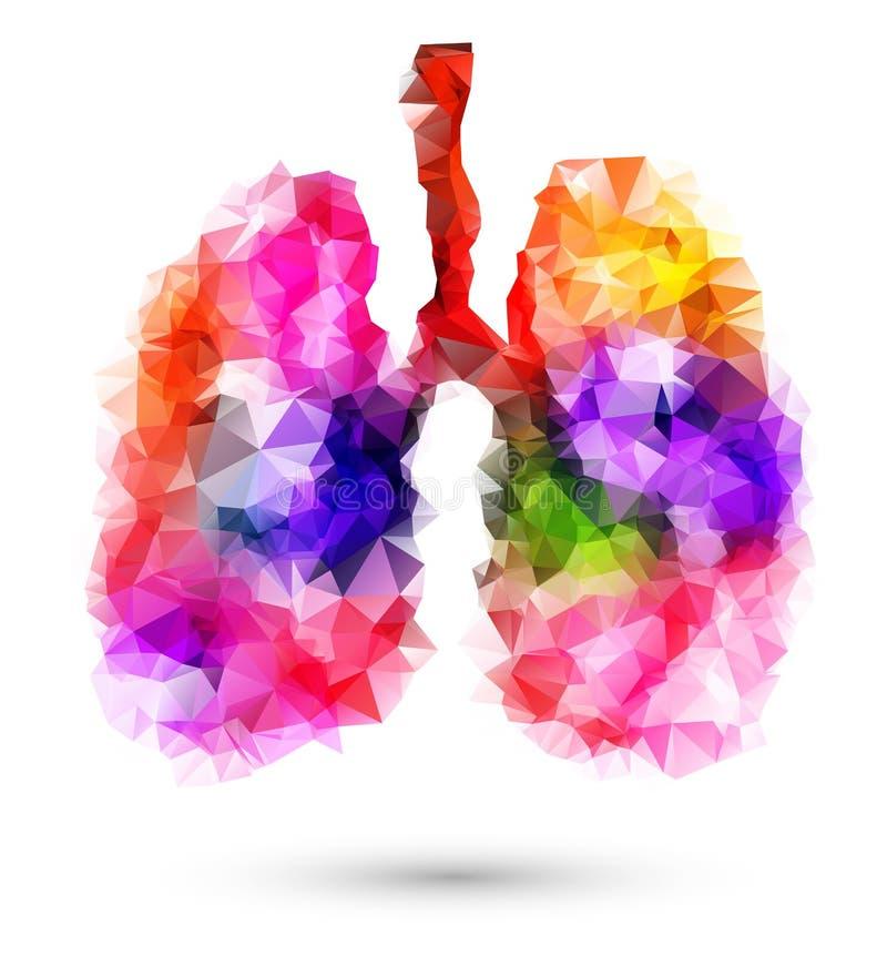 Abstracte menselijke longen met multicolored veelhoek op wit royalty-vrije illustratie