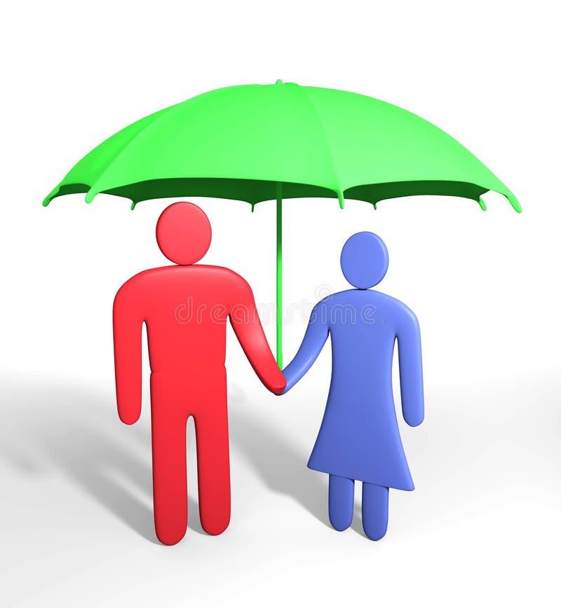 Abstracte menselijke paartribunes onder paraplu vector illustratie