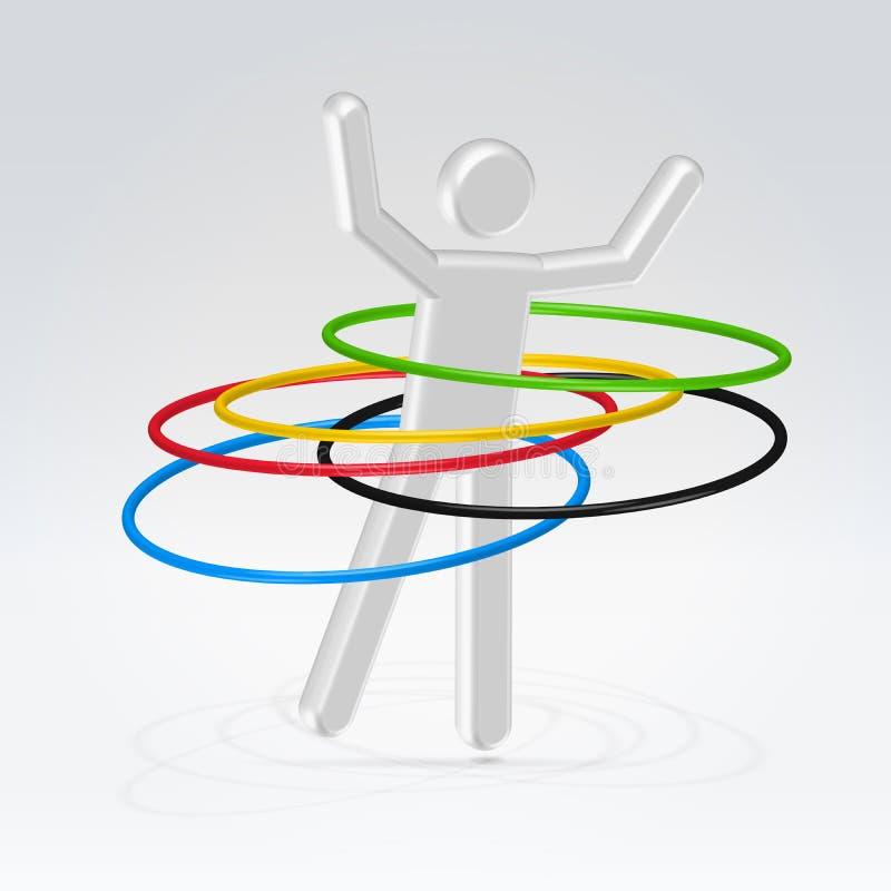 Abstracte mensen roterende hoepels stock illustratie