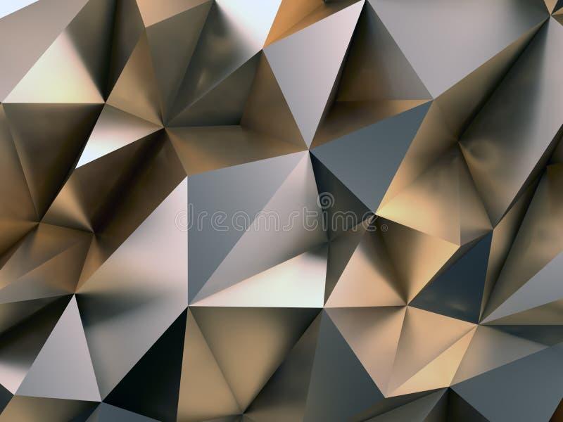 Abstracte Metaal 3D Illustratie Als achtergrond stock illustratie