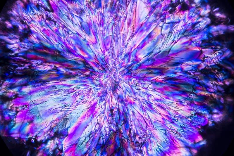 Abstracte micrograaf van een uitbarsting van de kristallen van de lavendellysine royalty-vrije stock foto's