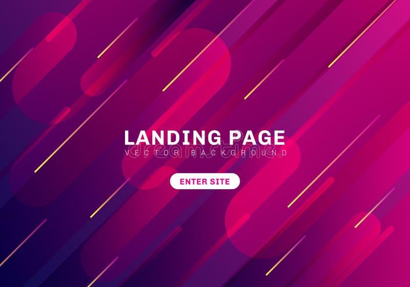 Abstracte minimale geometrische trillende kleurenachtergrond Het Landingspagina van de malplaatjewebsite Dynamische vormensamenst stock illustratie