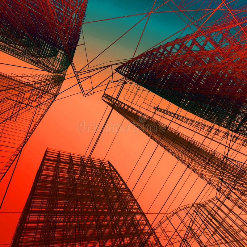 Abstracte Moderne Architectuur 3D Illustratie stock illustratie