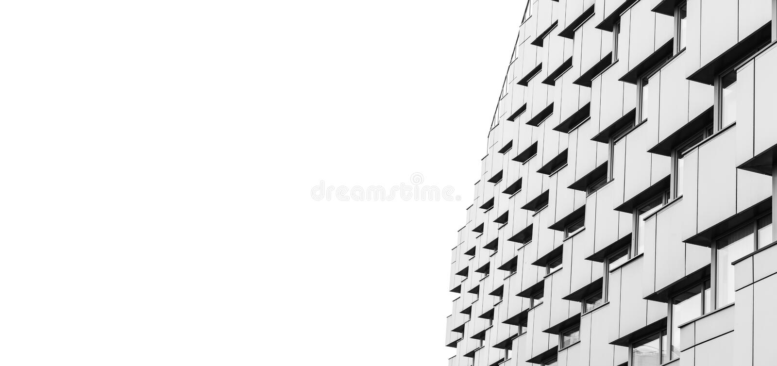 Abstracte moderne architectuur over wit stock foto