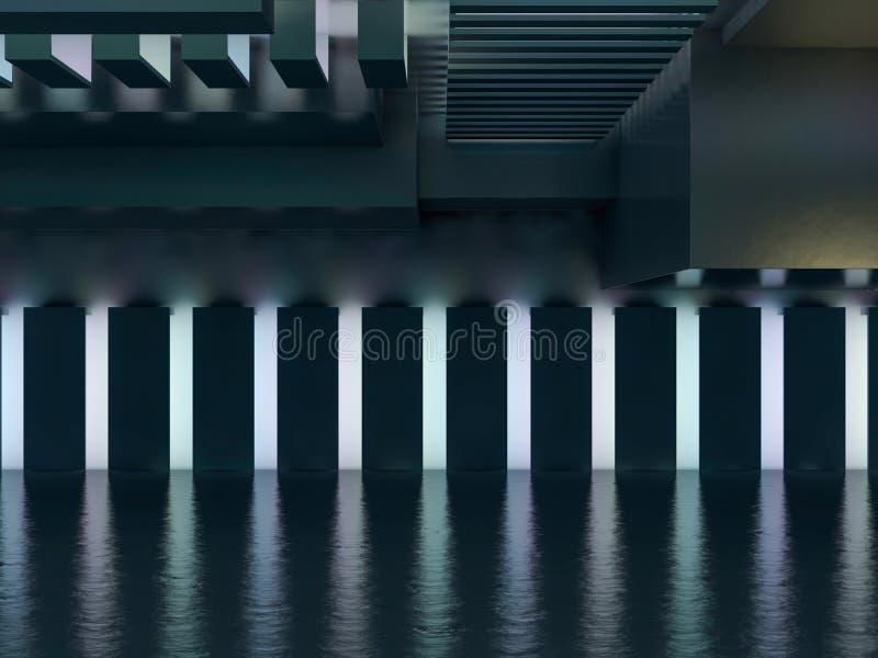 Abstracte moderne architectuurachtergrond het 3d teruggeven vector illustratie