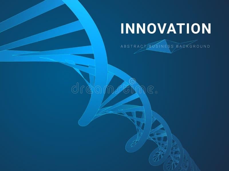 Abstracte moderne bedrijfsachtergrond die innovatie in vorm van een dubbele schroef van DNA op blauwe achtergrond afschilderen vector illustratie