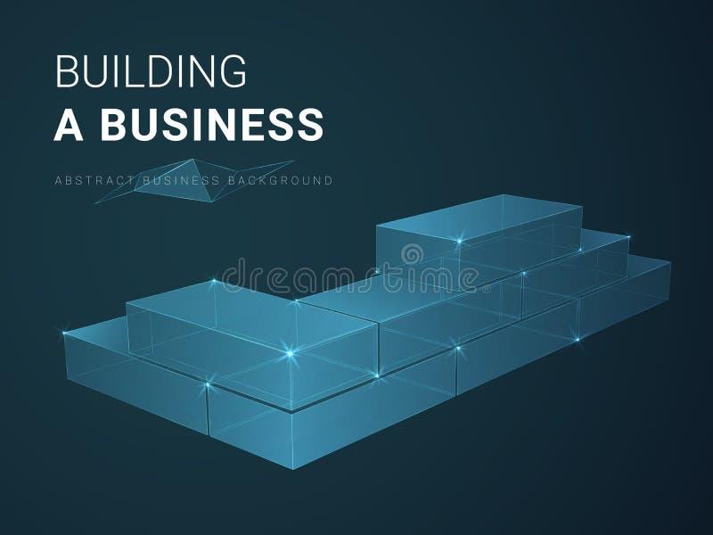 Abstracte moderne bedrijfsvector die als achtergrond bouwend zaken met lijnen in vorm van een bakstenen muur op blauwe achtergron royalty-vrije illustratie