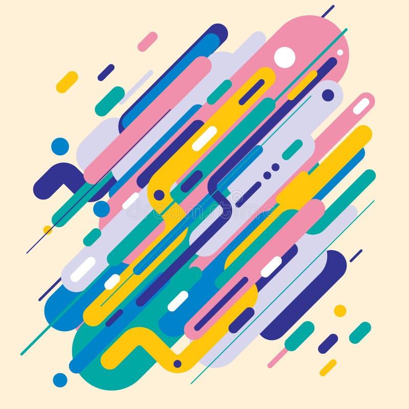 Abstracte moderne die stijl met samenstelling van diverse rond gemaakte vormen in kleurrijke ontwerpvormen wordt gemaakt royalty-vrije illustratie