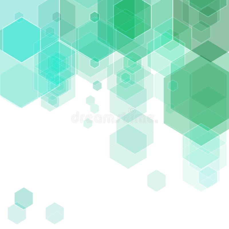 Abstracte moderne geometrische achtergrond met blauwe en groene zeshoeken Eps 10 royalty-vrije illustratie