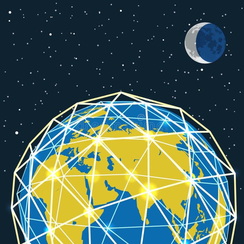 Abstracte moderne globale het communiceren regeling vector illustratie