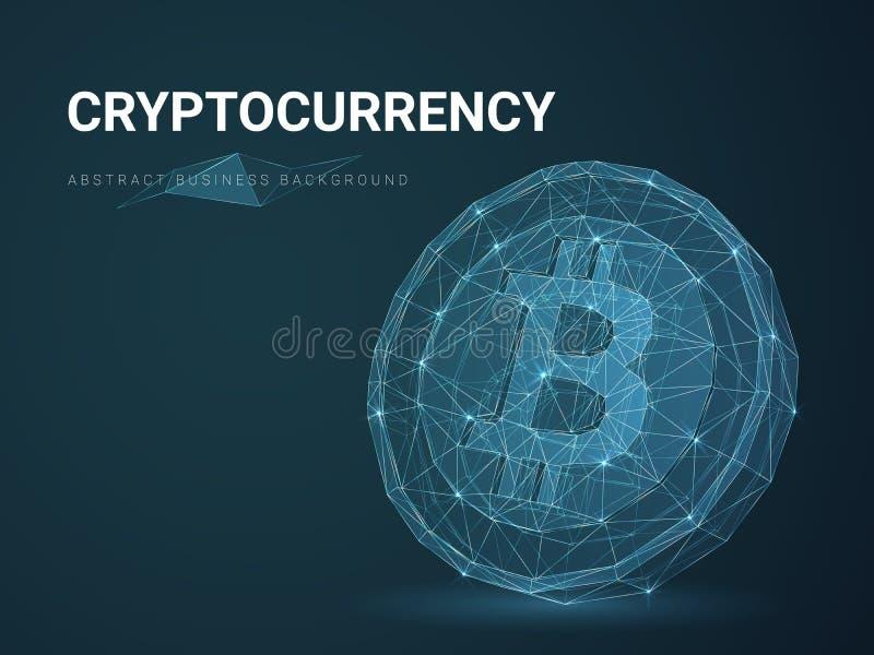 Abstracte moderne het bedrijfs achtergrond vector afschilderen cryptocurrency met sterren en lijnen in vorm van een bitcoin op bl stock illustratie