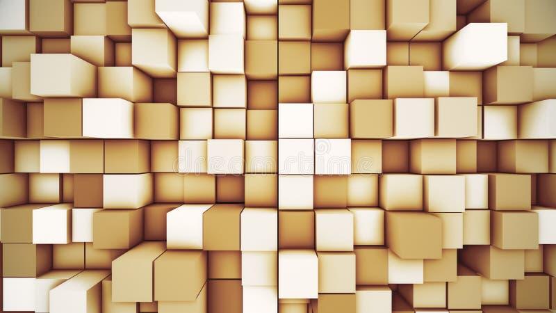 Abstracte moderne kubieke achtergrond De oranje 3D illustratie van de kubusmotie stock illustratie